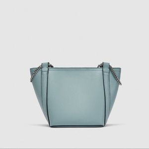 NWT Zara Baby Blue Mini Bucket Crossbody Bag.